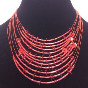 Sequins and Beads Necklace Red